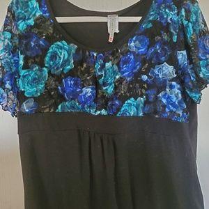 Lacy floral print blouse